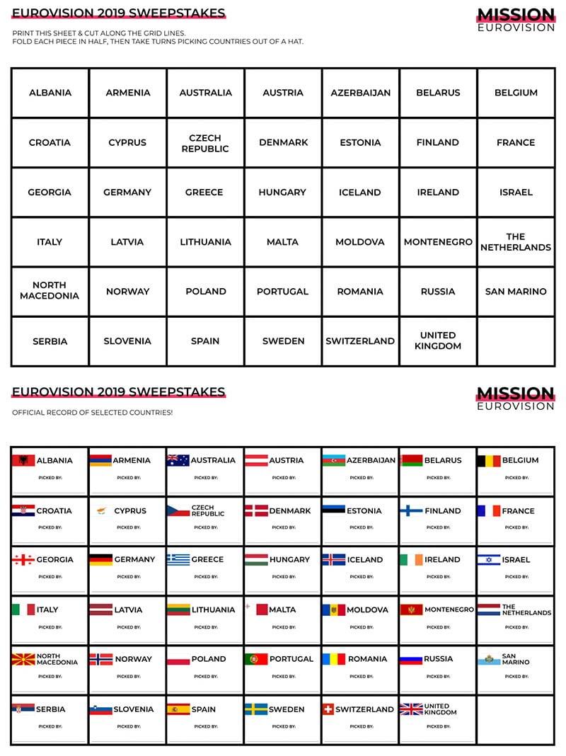 Eurovision 2019 sweepstakes