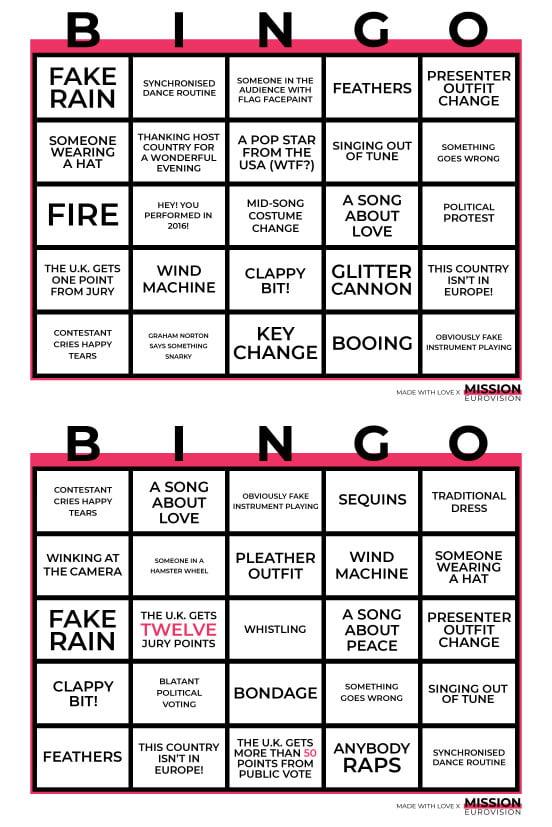 Eurovision Bingo 2019 sheet 1