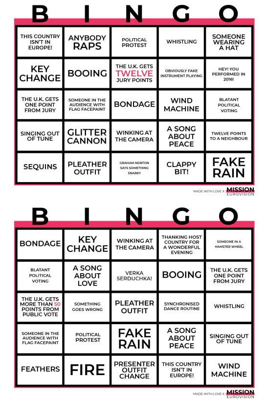 Eurovision Bingo 2019 sheet 3