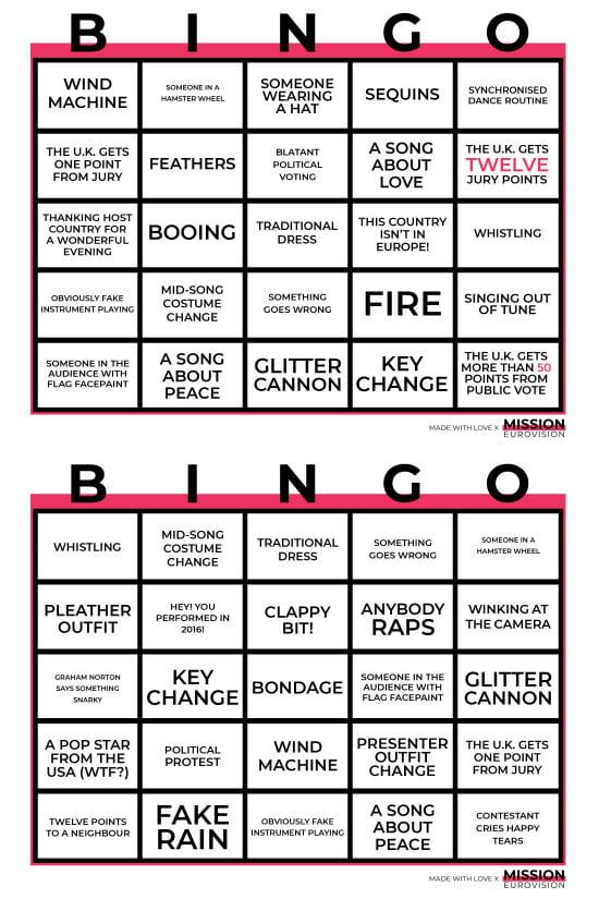 Eurovision Bingo 2019 sheet 4