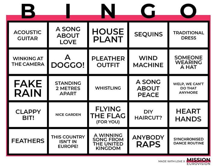 2020 Eurovision Bingo