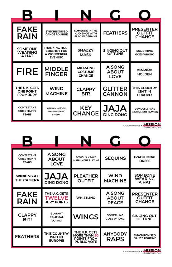 Eurovision 2021 BINGO sheet 1