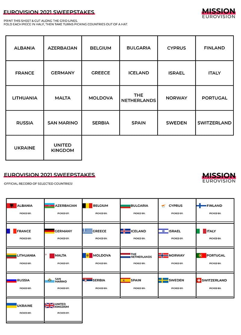 Eurovision 2021 sweepstakes