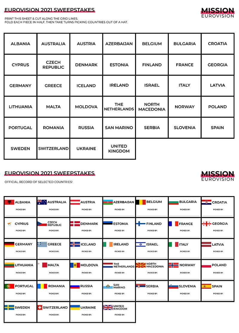 Eurovision 2021 full sweepstakes