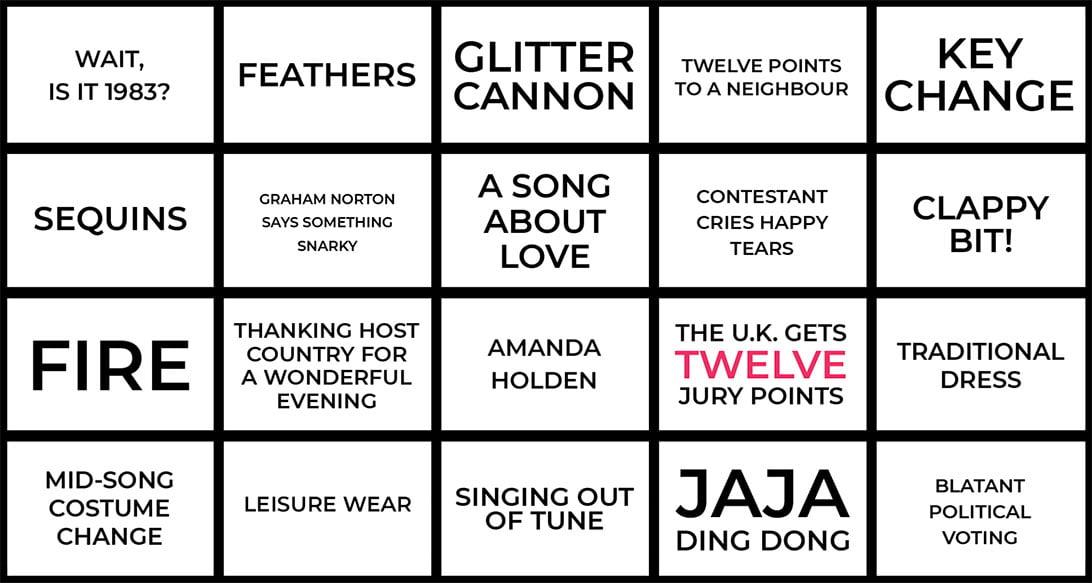 Eurovision 2021 bingo